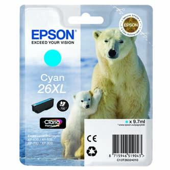 Epson originální ink C13T26324020, T263240, cyan, 9,7ml, Epson Expression Premium XP-800, XP-700, XP-600