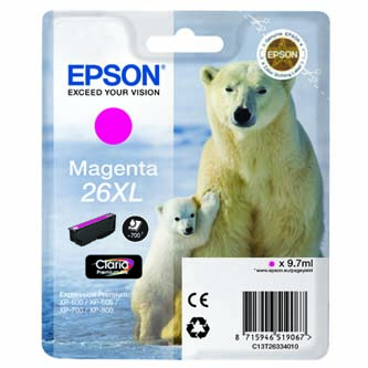Epson originální ink C13T26334010, T263340, magenta, 9,7ml, Epson Expression Premium XP-800, XP-700, XP-600