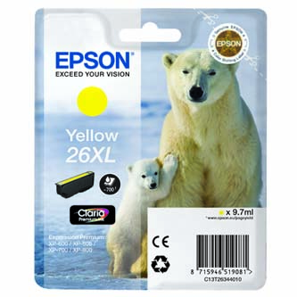 Epson originální ink C13T26344010, T263440, yellow, 9,7ml, Epson Expression Premium XP-800, XP-700, XP-600