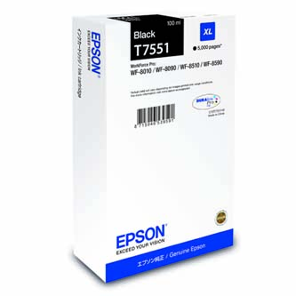 Epson originální ink C13T755140, T7551, XL, black, 5000str., 100ml, 1ks, Epson WorkForce Pro WF-8590DWF