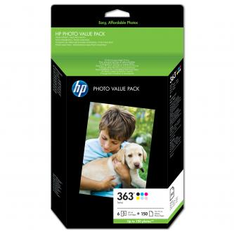 HP originální ink Q7966EE, HP 363, color, blistr, 150str., HP Set 6 kazet No.363 + Paper 10 x 15 cm, 150 listů, Promo pack