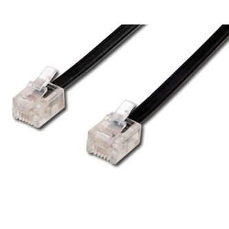Telefonní kabel 4 žíly, RJ11 M-6m, černý, No Name, pro ADSL modem