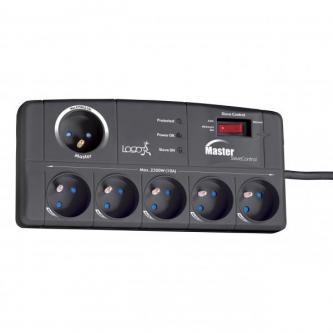Master/Slave přepěťová ochrana, 2 m, 5+1 zásuvka, LED indikace, LOGO