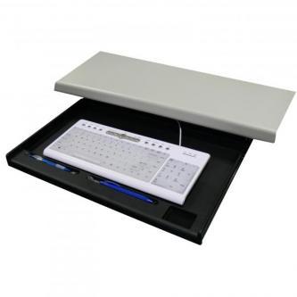 Držák klávesnice pod stůl, černý, plast, LOGO