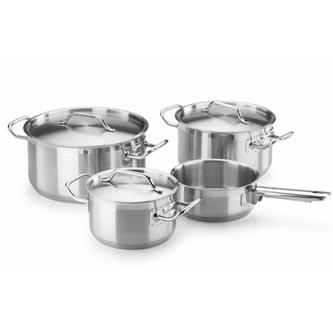 Sada hrnců Chef 7 dílů, stříbrný, sada 7ks, Fagor Hrnce s poklicí 24,20 a 16cm + rendlík 16cm